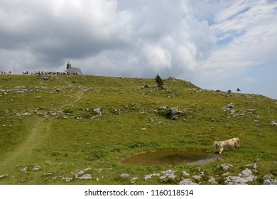 Velika Planina,8.19.2018,Slovenija. Belivers pray in church named Marije snezne on Velika Planina mounatin