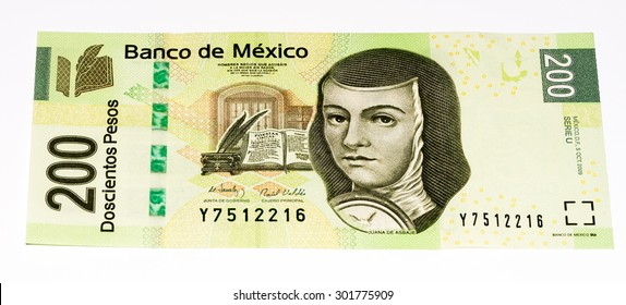 VELIKIE LUKI, RUSSIA - JULY 30, 2015: Juana de Asbaje on the 200 Mexican pesos bank note made in 2009