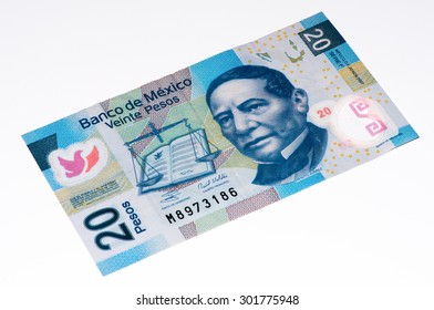 VELIKIE LUKI, RUSSIA - JULY 30, 2015: Benito Juares on the 20 Mexican pesos bank note made in 2007