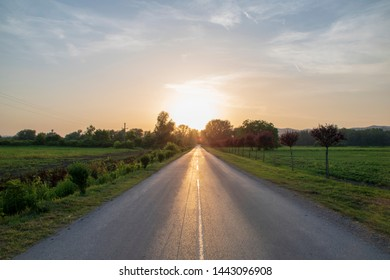 Veliko Gradiste town Serbia - sunset on the road