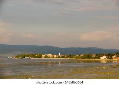 Veliko Gradiste town view from the Danube river - Serbia