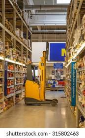 Veliko Tarnovo - April 5: Large shop - warehouse with groceries and household goods stacked with forklift on April 5, 2015 Veliko Tarnovo, Bulgaria