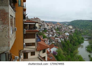 VELIKO TARNOVO, BULGARIA - APR 14, 2019 - View of the town from the hilltop Fortress Tsarevets, Veliko Tarnovo, Bulgaria