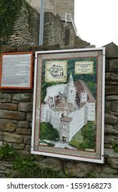 VELIKO TARNOVO, BULGARIA - APR 15, 2019 - Map and medieval walls and ruins of the Fortress Tsarevets, Veliko Tarnovo, Bulgaria