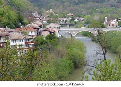 VELIKO TARNOVO, BULGARIA - APR 15, 2019 - Bridge over the Yantra River, Veliko Tarnovo, Bulgaria