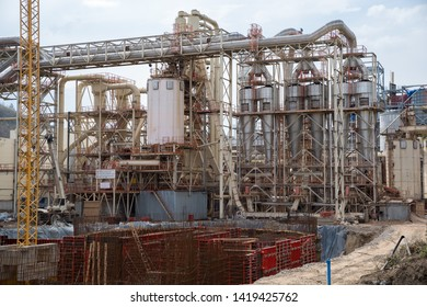 Veliko Tarnovo, Bulgaria - April 07.2018: Construction of electrostatic precipitators and dust collecting systems in a plant for the production of particle board and wood fiber.