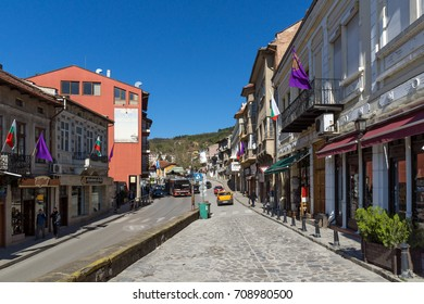 VELIKO TARNOVO, BULGARIA -  APRIL 11, 2017: Houses in old town of city of Veliko Tarnovo, Bulgaria