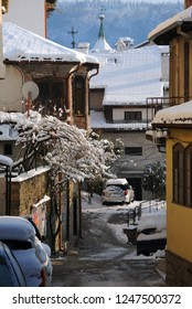 VELIKO TARNOVO, BULGARIA - DECEMBER 01, 2018: Residential area in the Old town