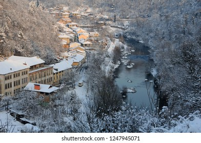 VELIKO TARNOVO, BULGARIA - DECEMBER 1, 2018: View of Asenov district and the Yantra river in the winter