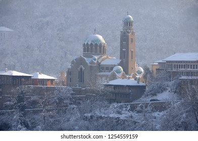 VELIKO TARNOVO, BULGARIA - DECEMBER 1, 2018: View of Nativity of Mary church in the winter