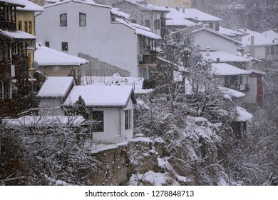VELIKO TARNOVO, BULGARIA – JANUARY 07, 2019: View of the houses and trees on the hill in the winter