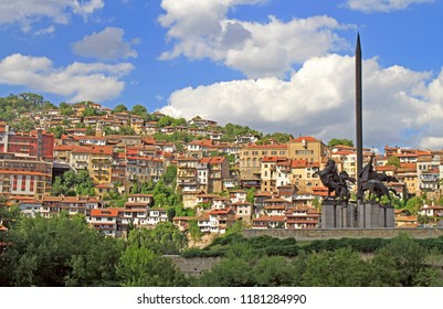 Veliko Tarnovo, Bulgaria - July 30, 2018: Monument of the Asens in Veliko Tarnovo, Bulgaria