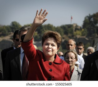 Veliko Tarnovo, BULGARIA -October 6: Brazil's President Dilma Vana Rousseff, who is of Bulgarian descent, waves to people as she visits the town of Veliko Tarnovo,  Bulgaria, on October 6, 2011.