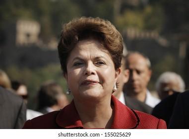 Veliko Tarnovo, BULGARIA -October 6: Brazil's President Dilma Vana Rousseff, who is of Bulgarian descent, smiles as she visits the town of Veliko Tarnovo,  Bulgaria, on October 6, 2011.