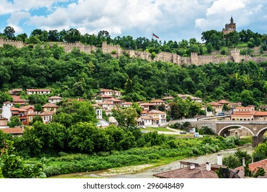Veliko Tarnovo, the historical capital of Bulgaria. Beautiful touristic destination in Eastern and Central Europe. Tsarevets  - historical residential buildings surrounded by thick walls.