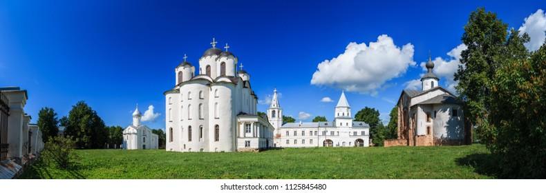 Veliky Novgorod (Great Novgorod), Russia. Panorama of ancient churches on Yaroslav Courtyard in historical center.
