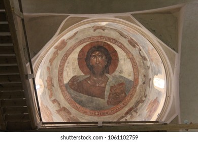 VELIKY NOVGOROD, NOVGOROD OBLAST / RUSSIA - 30 NOVEMBER 2014: The Ancient Fresco by Theophanes the Greek in the Church of the Transfiguration on Ilyina Street