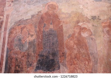 VELIKY NOVGOROD, NOVGOROD OBLAST / RUSSIA - DECEMBER 24 2017: The Ancient Frescoes in Znamensky Cathedral which was built in 1688.