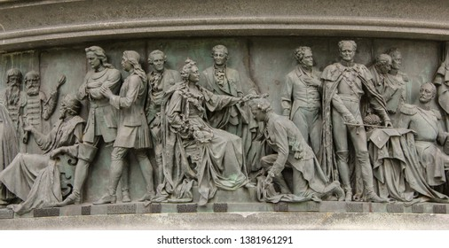 Veliky Novgorod, Russia. 17.06.12. Bas-relief Great people of Russia on the monument of the 1000th anniversary of Russia in the Park of the old Kremlin of Novgorod