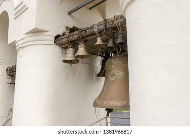 Veliky Novgorod, Russia. 17.06.12. Bells on the belfry in the Kremlin of Novgorod