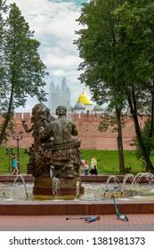 Veliky Novgorod, Russia. 17.06.12. Sadko monument on the background of the Novgorod Kremlin
