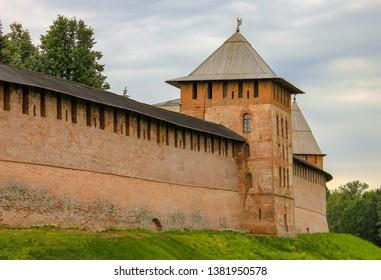 Veliky Novgorod, Russia. 17.06.12. Walls and towers of the old Kremlin of Veliky Novgorod