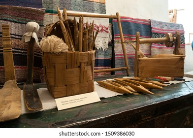 Veliky Novgorod, Russia - August 16, 2019. Exhibits of an ethnographic exhibition in the interior of The Wives the Myrrh bearers church in Veliky Novgorod