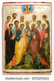 Veliky Novgorod, Russia - August 17, 2017: Antique Russian orthodox icon. The Council of the Twelve Apostles, 1432