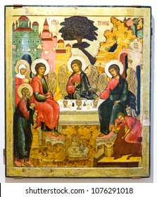 Veliky Novgorod, Russia - August 17, 2017: Antique Russian orthodox icon. The Old Testament Trinity, 17th century