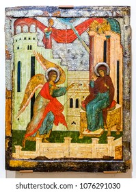 Veliky Novgorod, Russia - August 17, 2017: Antique Russian orthodox icon. The Annunciation, 16th century