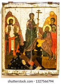 Veliky Novgorod, Russia - August 17, 2017: Antique Russian orthodox icon. The Descent in to Hell, 14th century