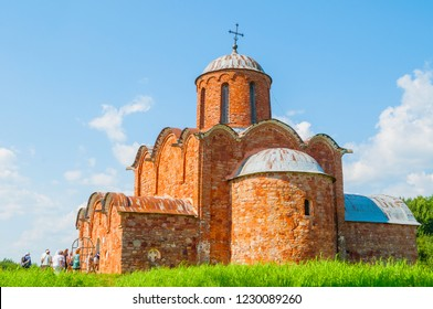 Veliky Novgorod, Russia - August 3, 2018. Church of the Transfiguration of Savior on Kovalevo and touristic excursion in Veliky Novgorod, Russia
