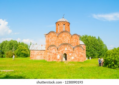 Veliky Novgorod, Russia - August 3, 2018. Church of the Savior Transfiguration on Kovalevo field in Veliky Novgorod, Russia