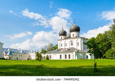 Veliky Novgorod, Russia. Cathedral of the Nativity of our Lady in St Anthony monastery in Veliky Novgorod, Russia. Architecture summer landscape