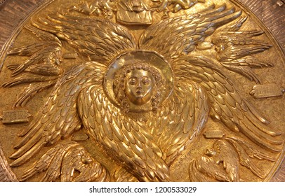 VELIKY NOVGOROD, RUSSIA - JUL 4, 2018: Beautiful silver flabellum of VII century, Chamber of Facets museum