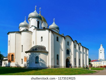 Veliky Novgorod, Russia - June 14, 2015: Cathedral of St Sophia at the Kremlin of Veliky Novgorod, of Russia