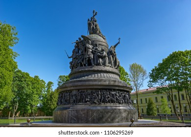 "VELIKY NOVGOROD, RUSSIA - May 20, 2018: Monument ""the Millennium of Russia"" against the blue sky in Veliky Novgorod (Novgorod the Great)."