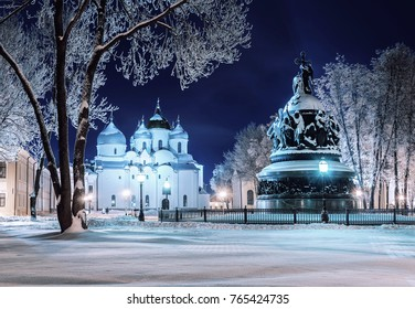 Veliky Novgorod, Russia. The monument Millennium of Russia and St Sophia Cathedral in Veliky Novgorod in winter night