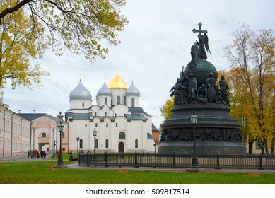 "VELIKY NOVGOROD, RUSSIA - OCTOBER 07, 2016: Monument ""Millennium of Russia"" and the St. Sophia Cathedral cloudy October day. The Kremlin Of Veliky Novgorod"