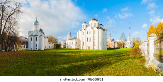 Veliky Novgorod, Russia. Panorama of churches at Yaroslav Courtyard in Veliky Novgorod, Russia. Autumn architecture landscape