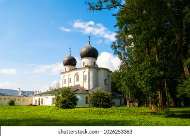 Veliky Novgorod, Russia. Summer view of Cathedral of the Nativity of our Lady in St Anthony monastery in Veliky Novgorod, Russia