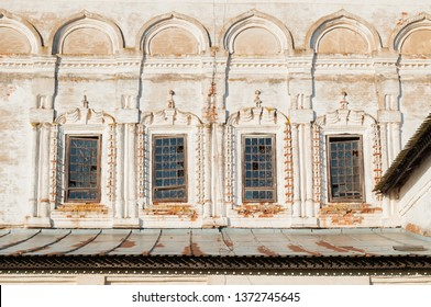 Veliky Novgorod, Russia. Windows with arches and stucco at the facade of Resurrection Cathedral of Derevyanitsky monastery in Veliky Novgorod surroundings
