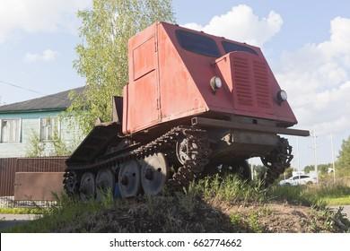 Veliky Ustyug, Vologda region, Russia - August 12, 2016: Skidder tractor TDT-40 installed as a monument in Veliky Ustyug