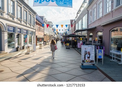 Veljle / Denmark - September 16 2018: People walking on the streets of Vejle in Denmark.