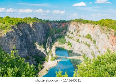 """The Velka Amerika limestone quarry also know as """"Czech Grand Canyon"""" near Karlstejn castle in the protected landscape area of Czech Karst."""