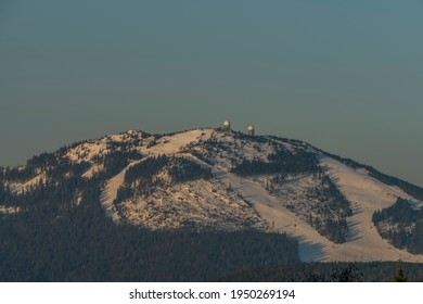 Velky Javor hill in winter sunrise morning in Germany mountains - Shutterstock ID 1950269194