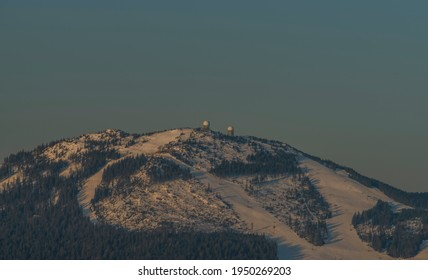 Velky Javor hill in winter sunrise morning in Germany mountains - Shutterstock ID 1950269203