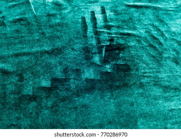 velor fabric texture, background, green. Velvet velor cloth background with glowing light and dark shadows. Background for theater and fashion design themes.