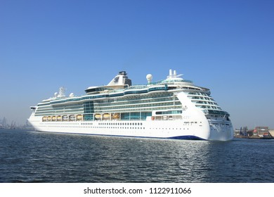 Velsen, the Netherlands - April, 20 2018: Velsen, the Netherlands - April, 20 2018: MS Brilliance of the Seas in North Sea Canal, operated by Royal Caribbean International
