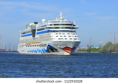 Velsen, the Netherlands -April 23rd 2018: Aida Diva on North Sea Canal, from sea lock to the Amsterdam Cruise Terminal